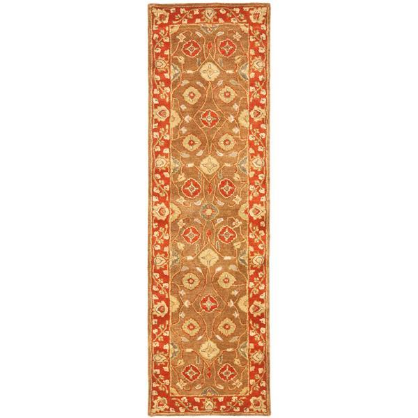 Safavieh Heritage Floral Rug - 2.3' x 8' - Wool - Beige/Rust