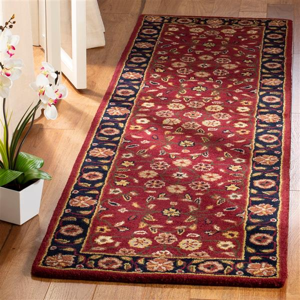 Safavieh Heritage Floral Rug - 2.3' x 8' - Wool - Red/Navy Blue