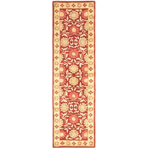 Safavieh Heritage Floral Rug - 2.3' x 8' - Wool - Red/Beige