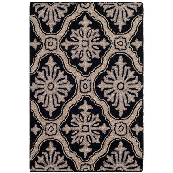 Safavieh Easy Care Floral Rug - 3' x 5' - Polypropylene - Black