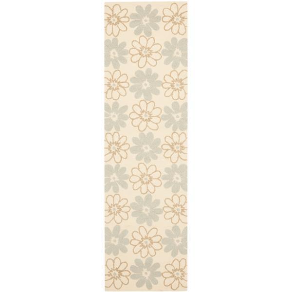 Safavieh Four Seasons Rug - 2.3' x 8' - Polyester - Ivory/Light Blue