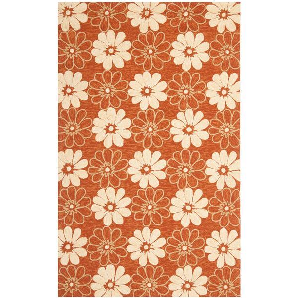 Safavieh Four Seasons Rug - 3.5' x 5.5' - Polyester - Rust/Ivory