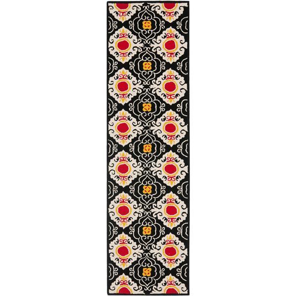 Safavieh Four Seasons Rug - 2.3' x 8' - Polyester - Black/Ivory