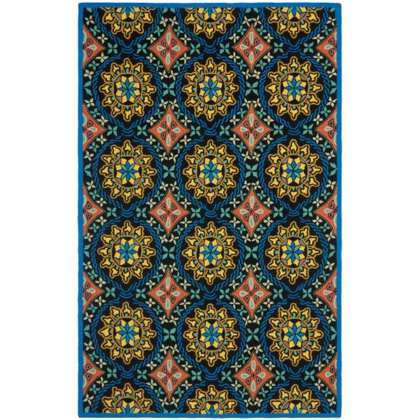 Safavieh Four Seasons Floral Rug - 2.3' x 8' - Polyester - Black/Blue