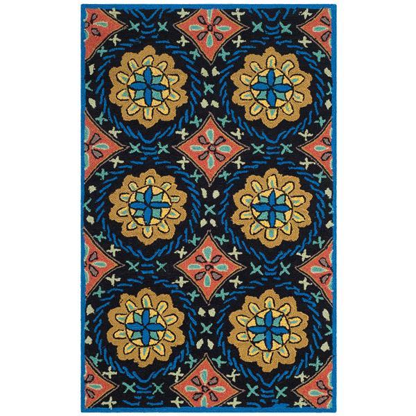 Safavieh Four Seasons Floral Rug - 2.5' x 4' - Polyester - Black/Blue