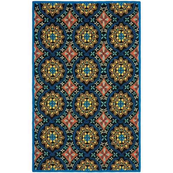 Safavieh Four Seasons Rug - 3.5' x 5.5' - Polyester - Black/Blue