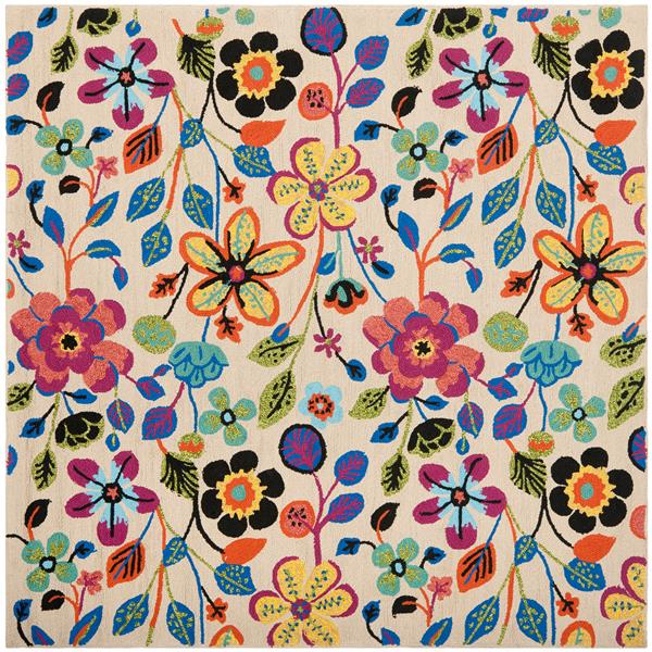 Safavieh Four Seasons Floral Rug - 6' x 6' - Polyester - Multicolour