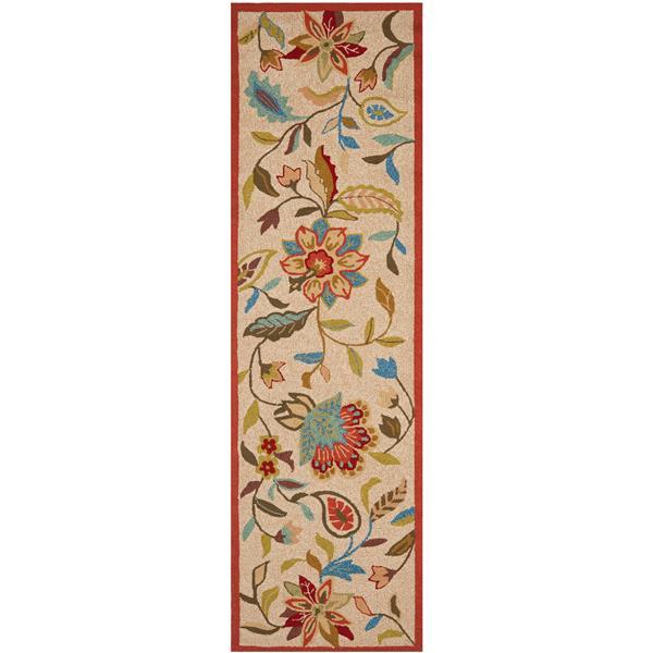 Safavieh Four Seasons Rug - 2.3' x 8' - Polyester - Ivory/Rust