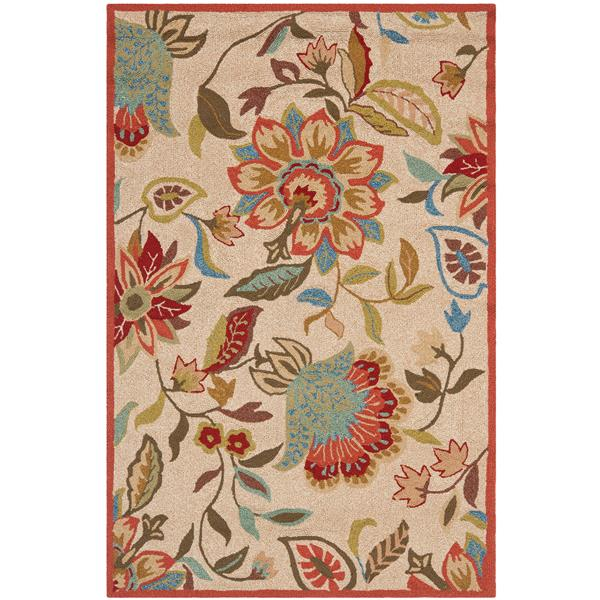 Safavieh Four Seasons Floral Rug - 5' x 8' - Polyester - Ivory/Rust