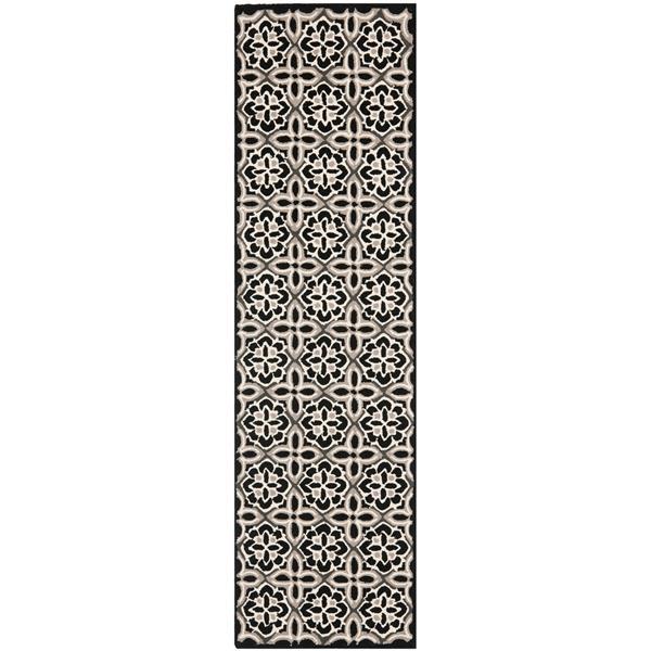 Safavieh Four Seasons Rug - 2.3' x 6' - Polyester - Black/Ivory