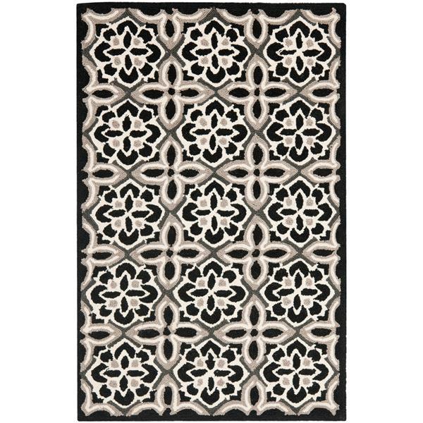 Safavieh Four Seasons Rug - 2.5' x 4' - Polyester - Black/Ivory