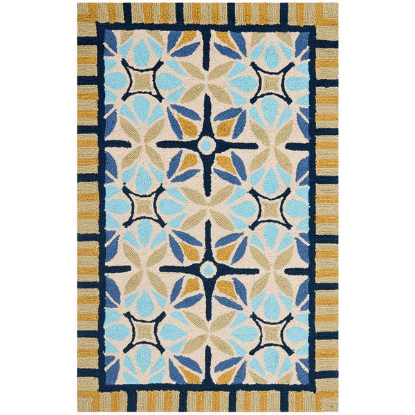 Safavieh Four Seasons Rug - 2.5' x 4' - Polyester - Natural/Blue