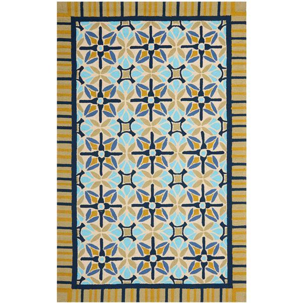 Safavieh Four Seasons Rug - 3.5' x 5.5' - Polyester - Natural/Blue
