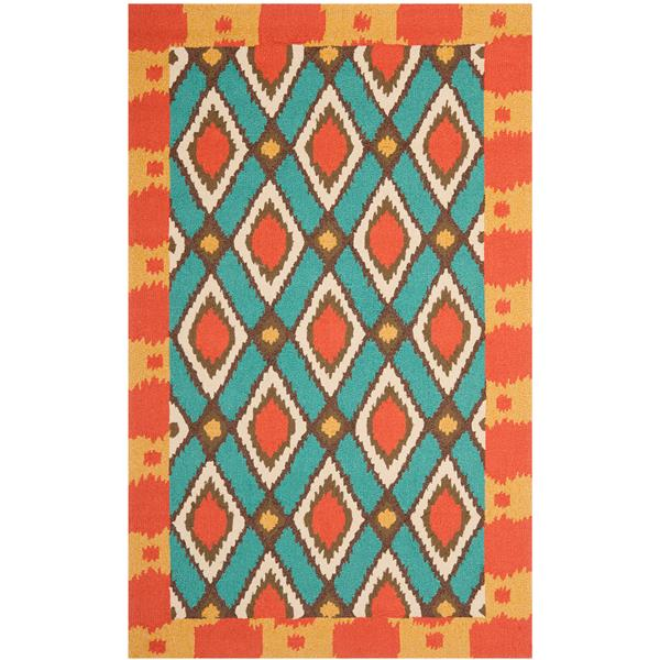 Safavieh Four Seasons Rug - 3.5' x 5.5' - Polyester - Light Blue/Red