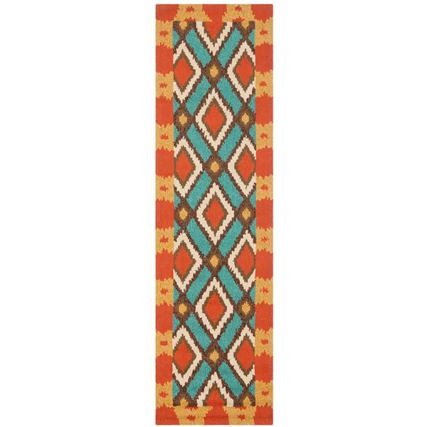 Safavieh Four Seasons Rug - 2.3' x 8' - Polyester - Light Blue/Red