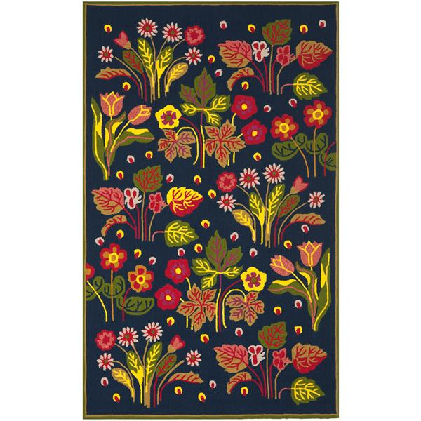 Safavieh Four Seasons Rug - 3.5' x 5.5' - Polyester - Navy Blue/Green
