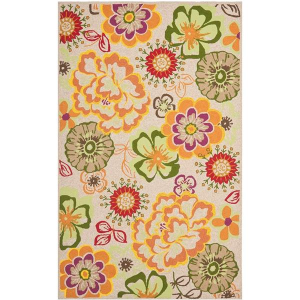 Safavieh Four Seasons Rug - 3.5' x 5.5' - Polyester - Ivory/Green