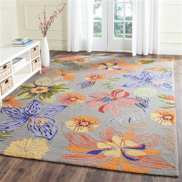 Safavieh Four Seasons Rug - 2.5' x 4' - Polyester - Gray/Orange