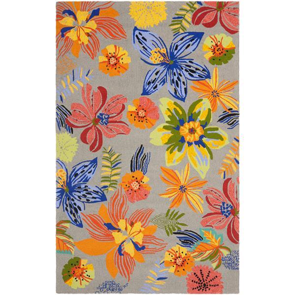 Safavieh Four Seasons Rug - 3.5' x 5.5' - Polyester - Gray/Orange