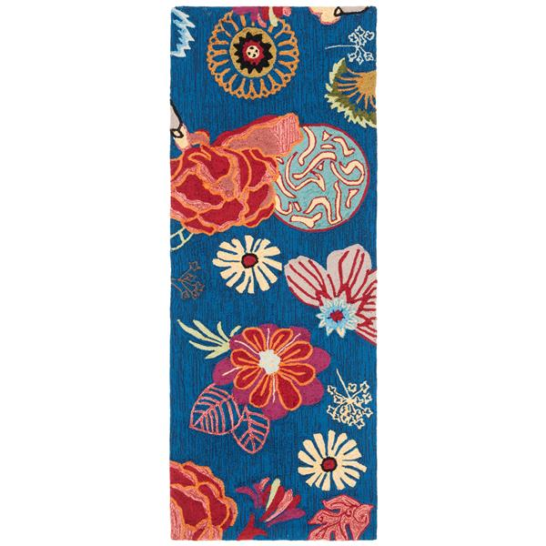 Safavieh Four Seasons Floral Rug - 2.3' x 6' - Polyester - Blue/Red