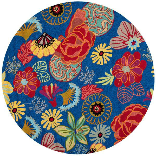 Safavieh Four Seasons Floral Rug - 4' x 4' - Polyester - Blue/Red