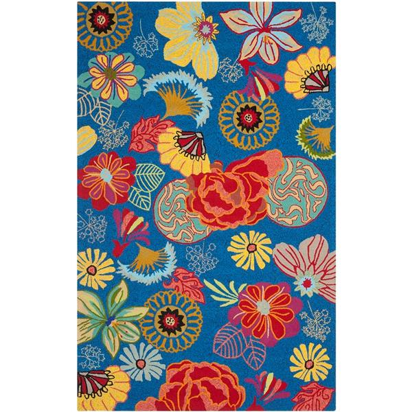 Safavieh Four Seasons Rug - 3.5' x 5.5' - Polyester - Blue/Red
