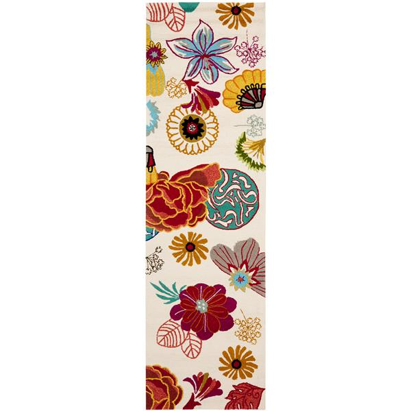Safavieh Four Seasons Rug - 2.3' x 8' - Polyester - Ivory/Red