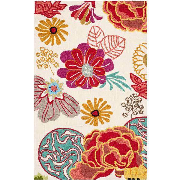 Safavieh Four Seasons Rug - 2.5' x 4' - Polyester - Ivory/Red