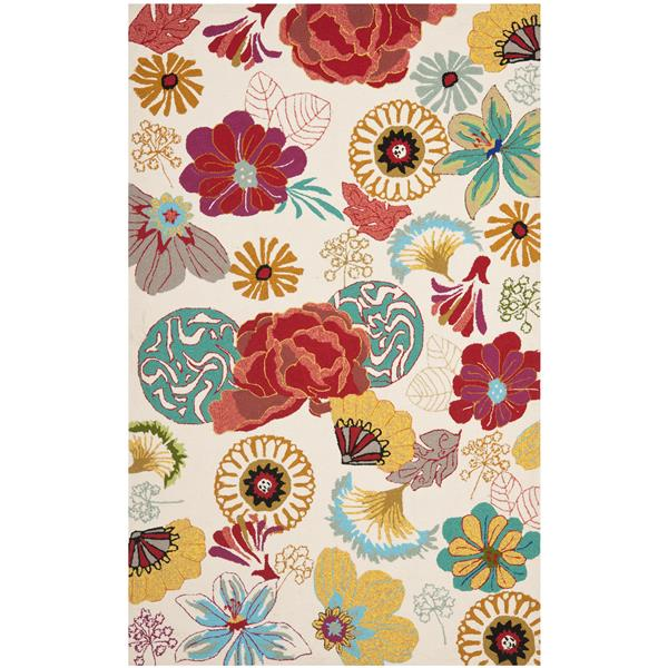 Safavieh Four Seasons Rug - 3.5' x 5.5' - Polyester - Ivory/Red