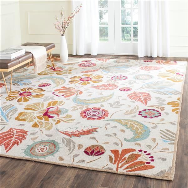 Safavieh Four Seasons Floral Rug - 2.5' x 4' - Polyester - Ivory/Gray