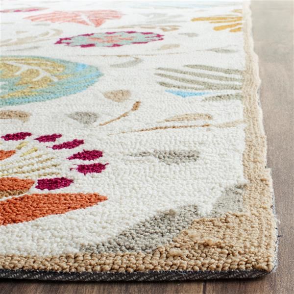 Safavieh Four Seasons Floral Rug - 2.3' x 8' - Polyester - Ivory/Gray