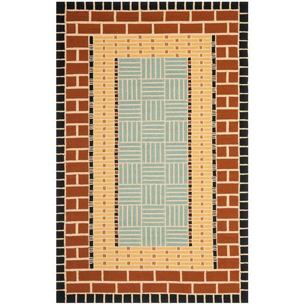 Safavieh Four Seasons Rug - 3.5' x 5.5' - Polyester - Brown/Blue