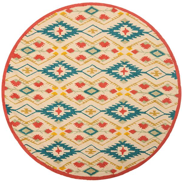 Safavieh Four Seasons Floral Rug - 4' x 4' - Polyester - Natural/Blue