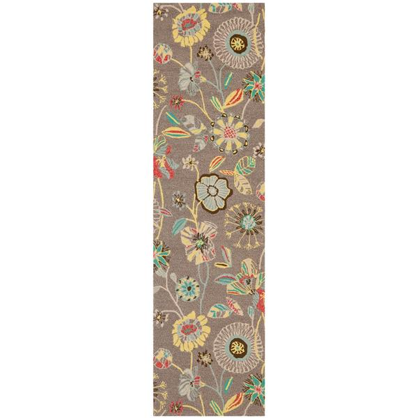 Safavieh Four Seasons Floral Rug - 2.3' x 8' - Polyester - Gray/Blue