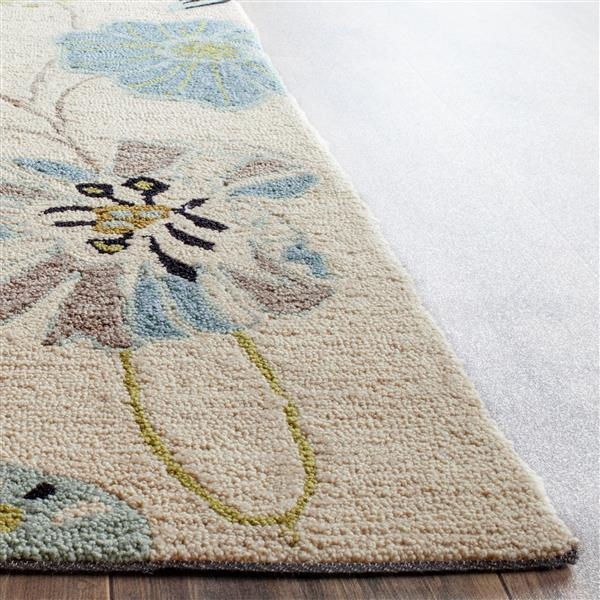 Safavieh Four Seasons Floral Rug - 2.3' x 8' - Polyester - Ivory/Blue