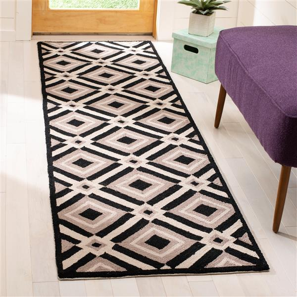 Safavieh Four Seasons Rug - 2.3' x 6' - Polyester - Black/Gray