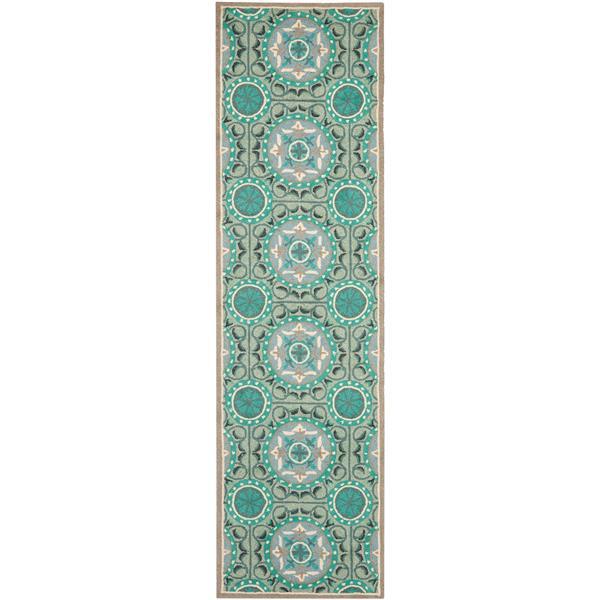 Safavieh Four Seasons Rug - 2.3' x 6' - Polyester - Mint/Aqua