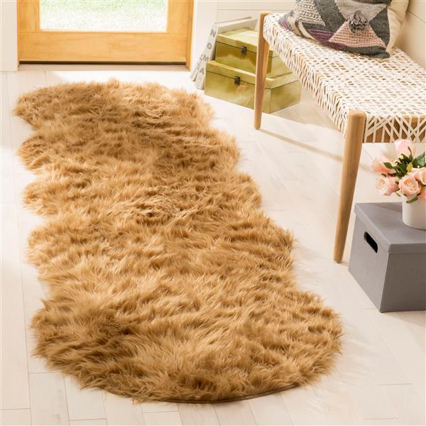 Safavieh Faux Sheep Skin Rug - 2.5' x 8' - Acrylic - Beige