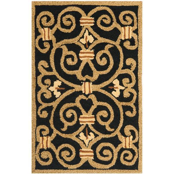 Safavieh Chelsea Floral Rug - 2.5' x 4' - Wool - Black