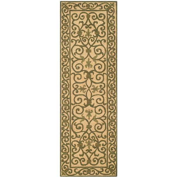 Safavieh Chelsea Floral Rug - 2.5' x 8' - Wool - Yellow/Light Green