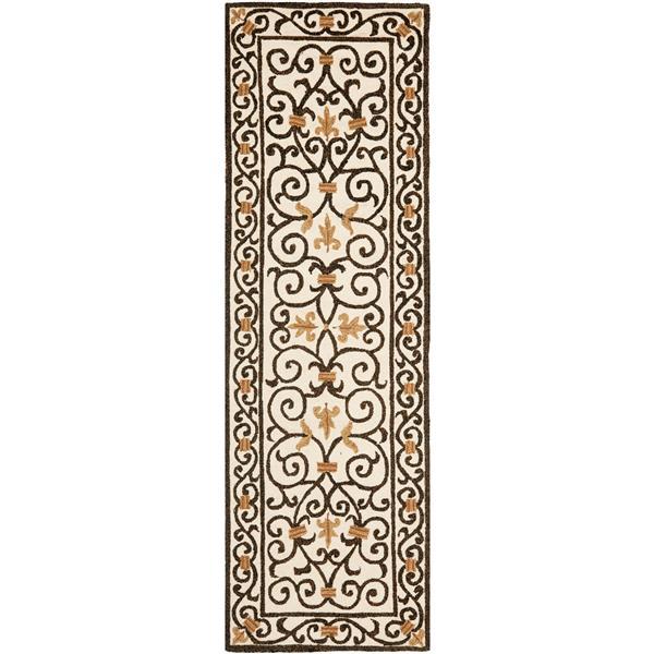 Safavieh Chelsea Floral Rug - 2.5' x 6' - Wool - Ivory/Dark Brown