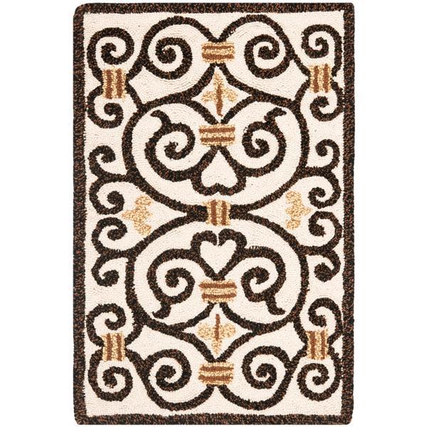 Safavieh Chelsea Floral Rug - 2.5' x 4' - Wool - Ivory/Dark Brown