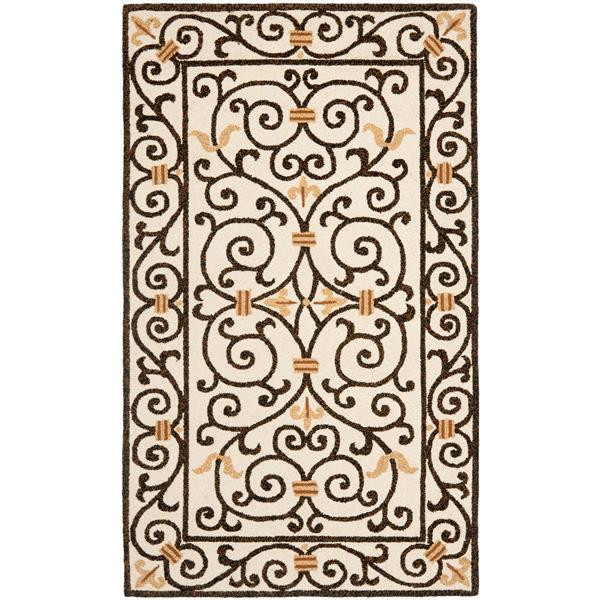 Safavieh Chelsea Floral Rug - 2.8' x 4.8' - Wool - Ivory/Dark Brown