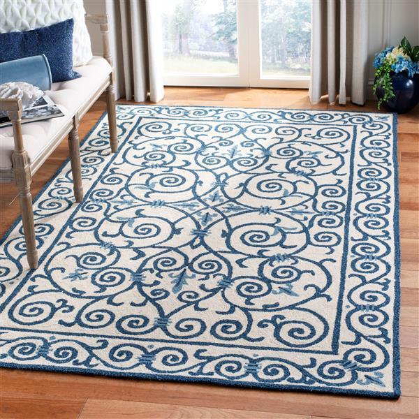 Safavieh Chelsea Floral Rug - 2.5' x 4' - Wool - Ivory/Dark Blue