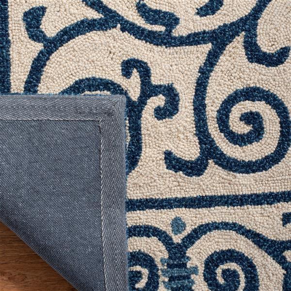 Safavieh Chelsea Floral Rug - 2.5' x 8' - Wool - Ivory/Dark Blue