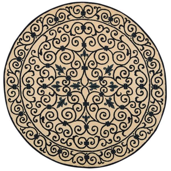 Safavieh Chelsea Floral Rug - 4' x 4' - Wool - Ivory/Dark Blue