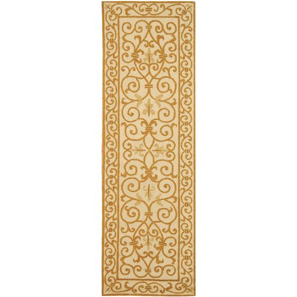 Safavieh Chelsea Floral Rug - 2.5' x 8' - Wool - Ivory/Gold