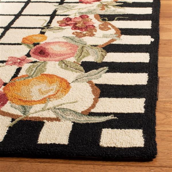 Safavieh Chelsea Border Rug - 2.5' x 8' - Wool - Ivory/Black
