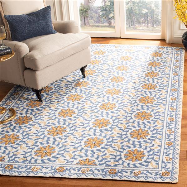 Safavieh Chelsea Floral Rug - 1.7' x 2.5' - Wool - Ivory/Blue