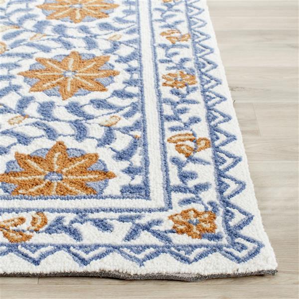 Safavieh Chelsea Floral Rug - 3' x 10' - Wool - Ivory/Blue